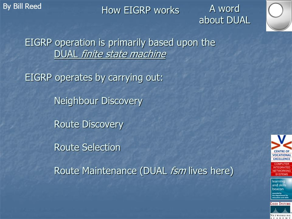 By Bill Reed How EIGRP works Route Summarisation ROUTE SUMMARISATION EIGRP includes subnet mask information in its updates.
