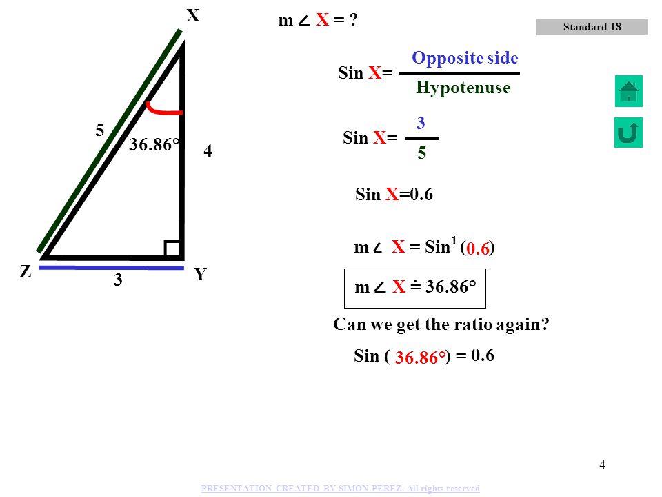 3 o u i C B A Tan C= i o Adjacent side Opposite side TANGENT Sin C= i u Hypotenuse Opposite side SINE Cos C= o u Hypotenuse COSINE Adjacent side Stand