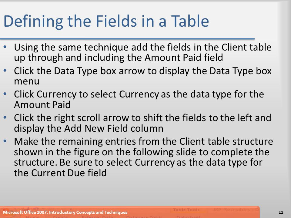 Defining the Fields in a Table Using the same technique add the fields in the Client table up through and including the Amount Paid field Click the Da