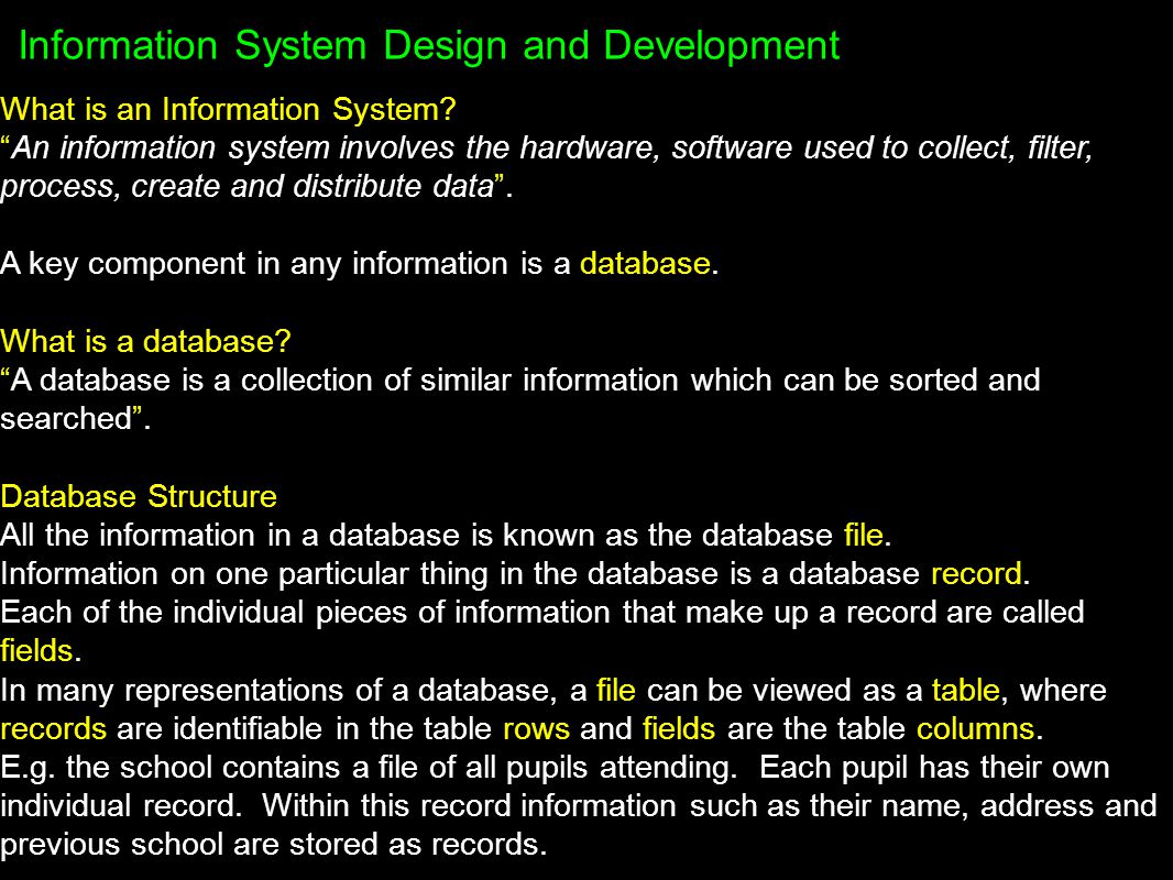 Field Types Each field in a database should be defined with a particular type, depending on the data to be stored in a field.