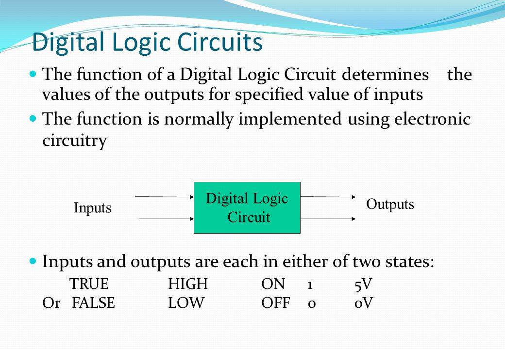 Digital Logic Circuits The function of a Digital Logic Circuit determines the values of the outputs for specified value of inputs The function is norm