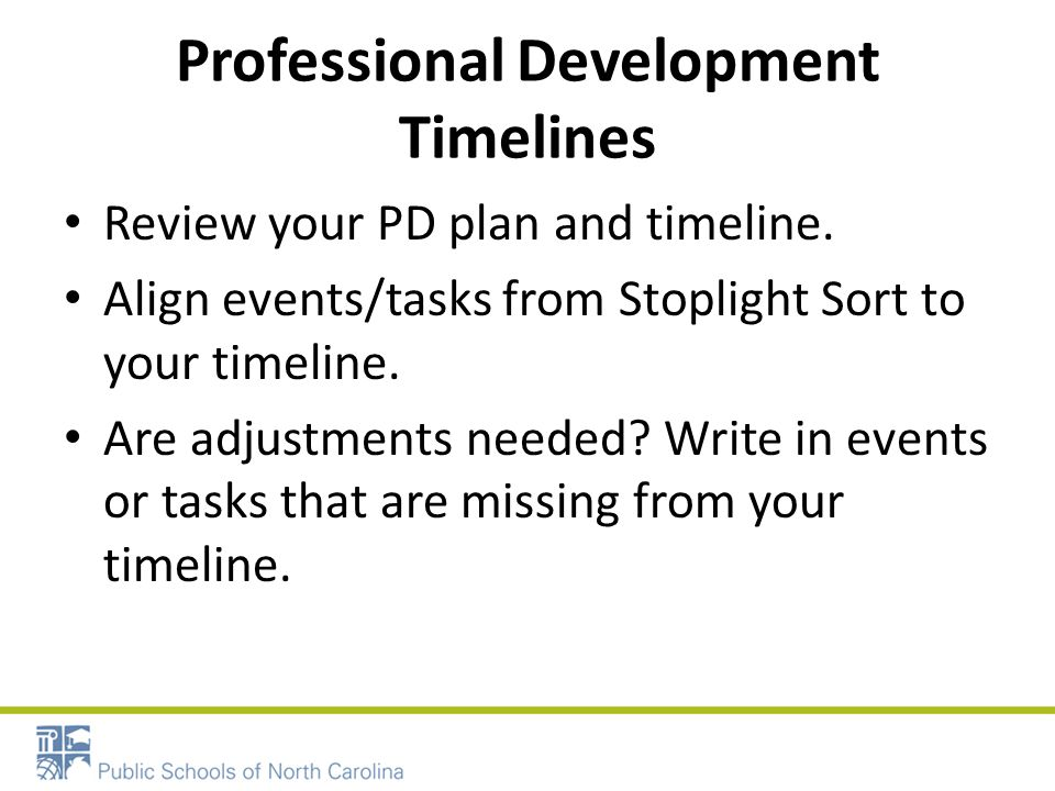 Professional Development Timelines Review your PD plan and timeline.