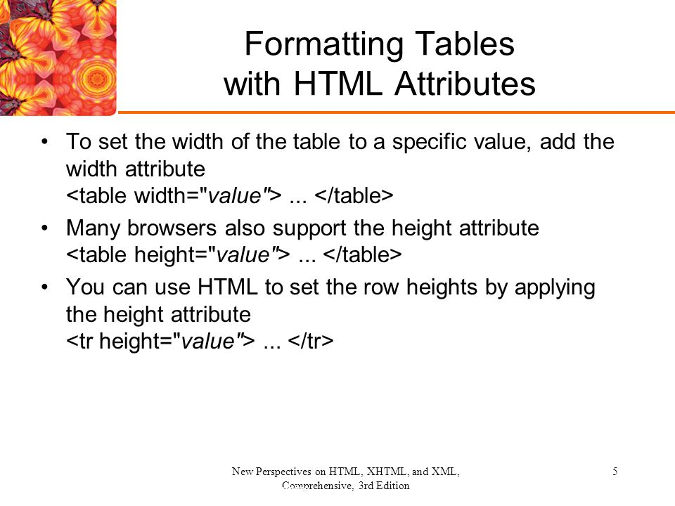 New Perspectives on HTML, XHTML, and XML, Comprehensive, 3rd Edition 5 Formatting Tables with HTML Attributes To set the width of the table to a specific value, add the width attribute...