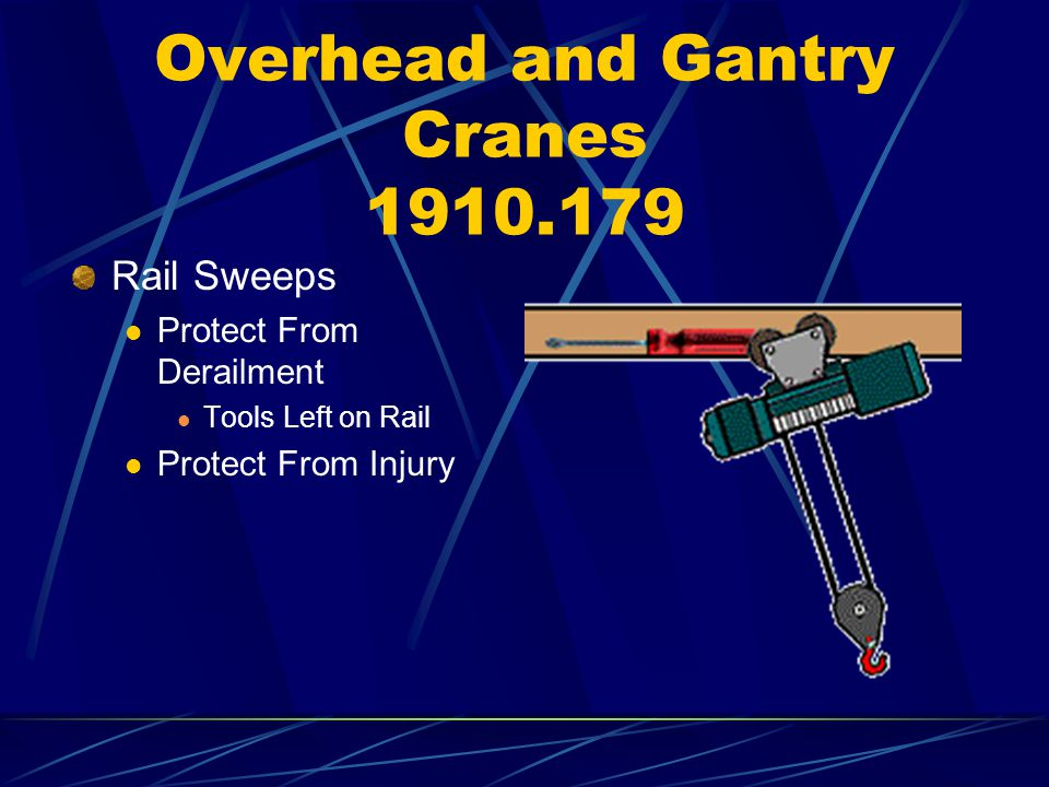 Overhead and Gantry Cranes 1910.179 Rail Sweeps Protect From Derailment Tools Left on Rail Protect From Injury