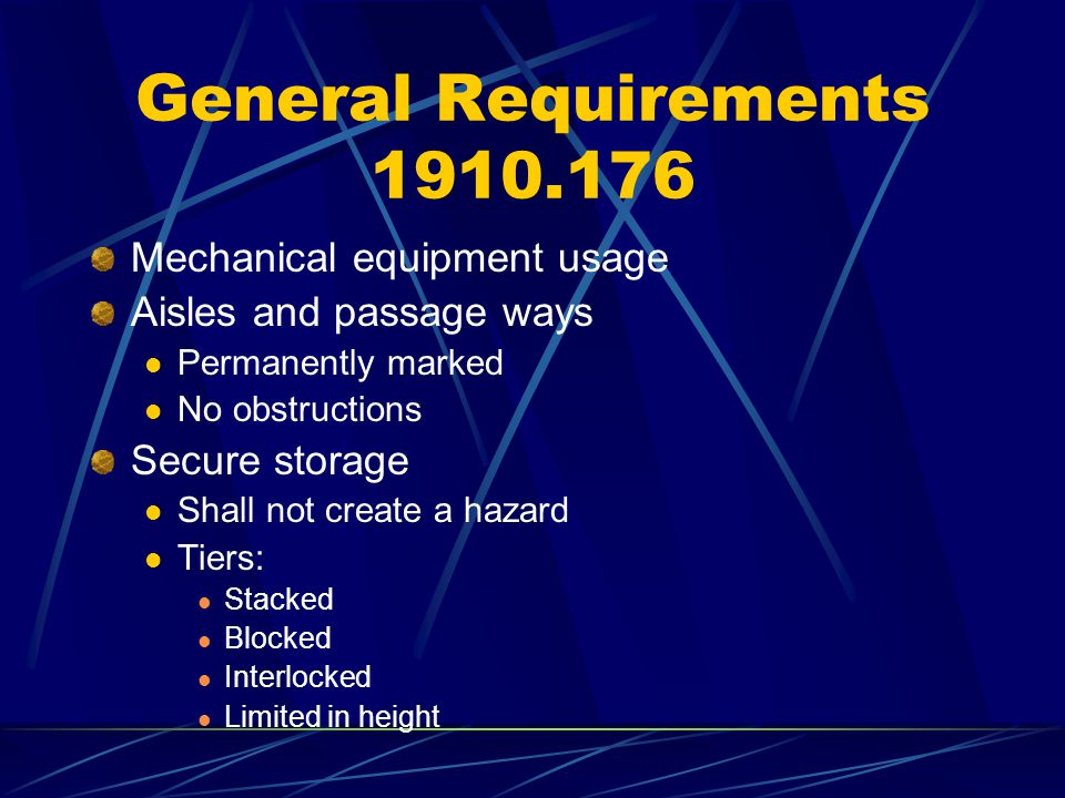 Slings 1910.184 Removal from Service Abnormal Wear Powder Fiber Between Strands Broken or Cut Fibers Variation of Size or Roundness of Fibers Discoloration or Rotting Distortion of Hardware in Slings Rope Slings Cannot Be Repaired