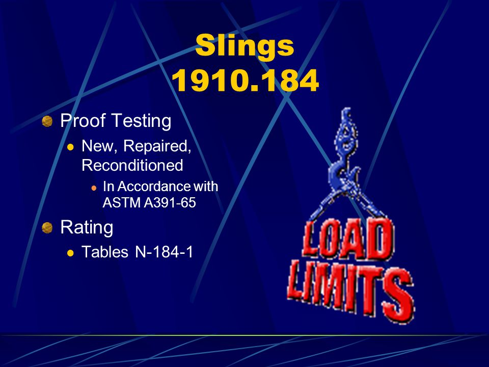 Slings 1910.184 Proof Testing New, Repaired, Reconditioned In Accordance with ASTM A391-65 Rating Tables N-184-1
