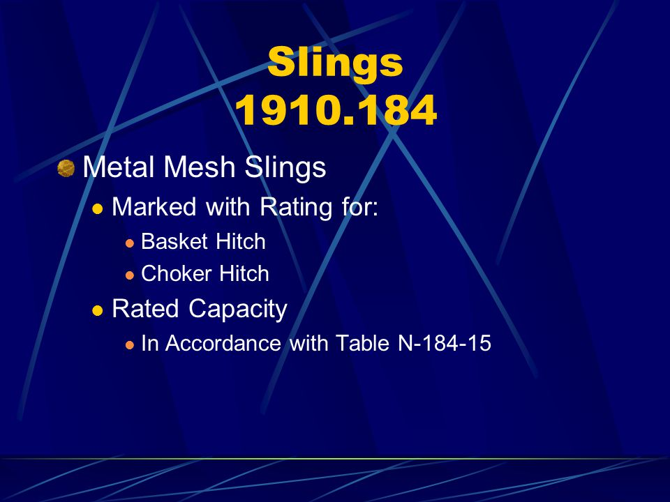 Slings 1910.184 Metal Mesh Slings Marked with Rating for: Basket Hitch Choker Hitch Rated Capacity In Accordance with Table N-184-15