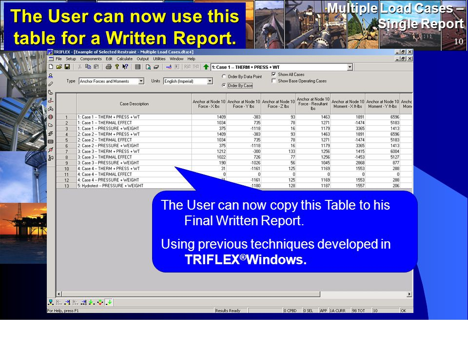 www.pipingsolutions.com TRIFLEX ® Windows Multiple Load Cases – Single Report 10 The User can now use this table for a Written Report.