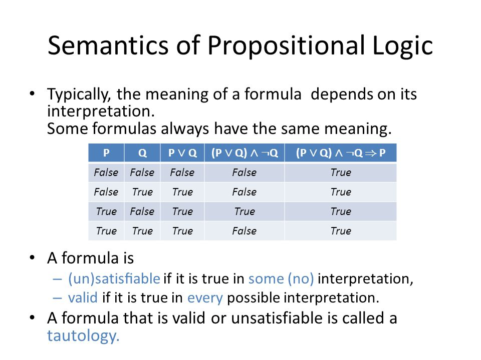 Semantics of Propositional Logic Typically, the meaning of a formula depends on its interpretation.