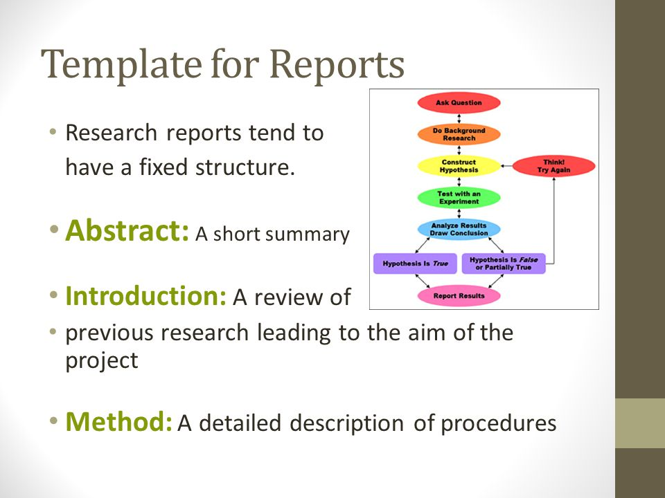 Template for Reports Research reports tend to have a fixed structure.