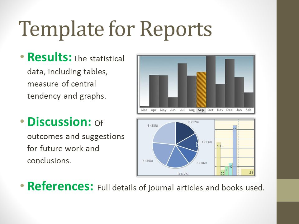 Template for Reports Results: The statistical data, including tables, measure of central tendency and graphs.