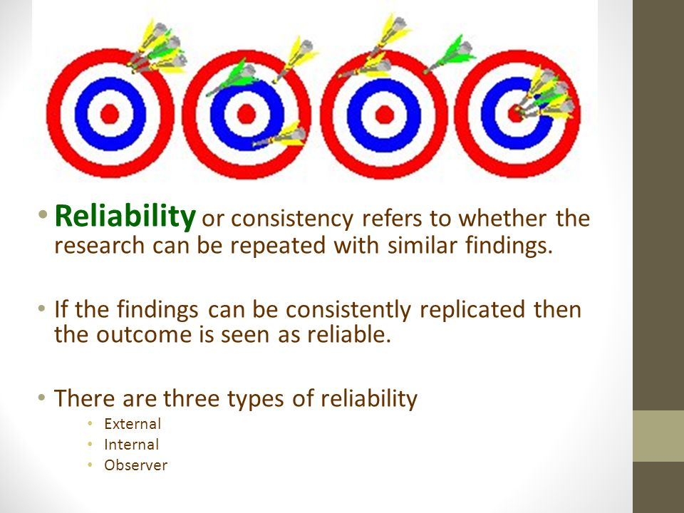 Reliability or consistency refers to whether the research can be repeated with similar findings.