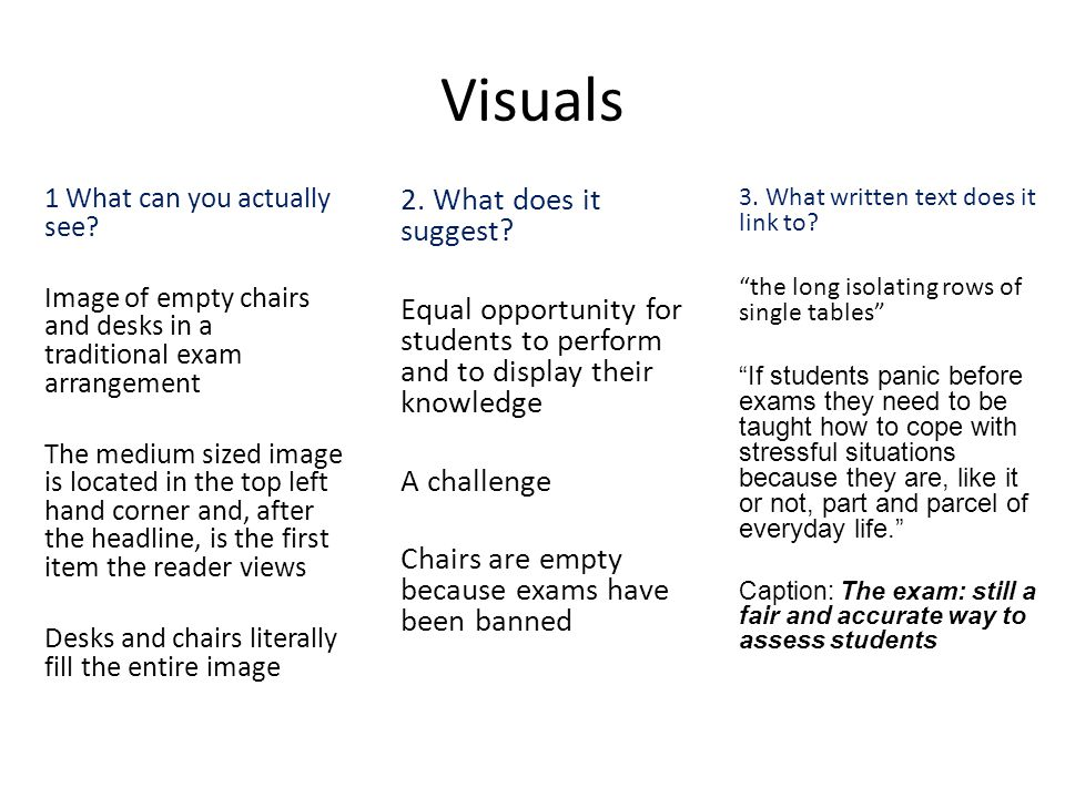 Visuals 2. What does it suggest? Equal opportunity for students to perform and to display their knowledge A challenge Chairs are empty because exams h
