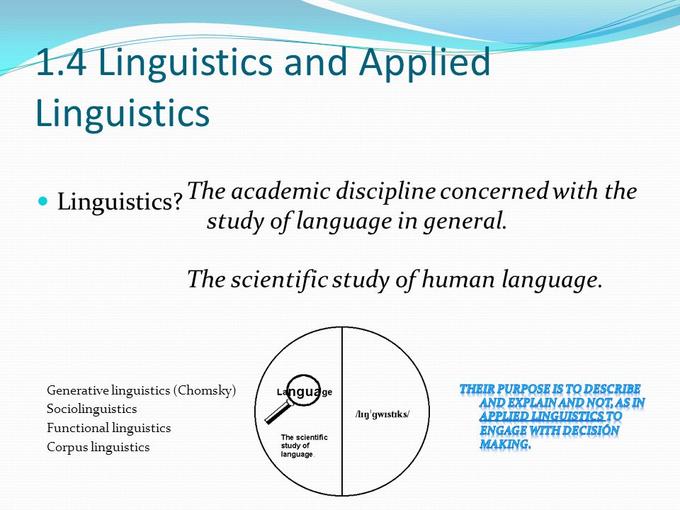 1.4 Linguistics and Applied Linguistics Linguistics.