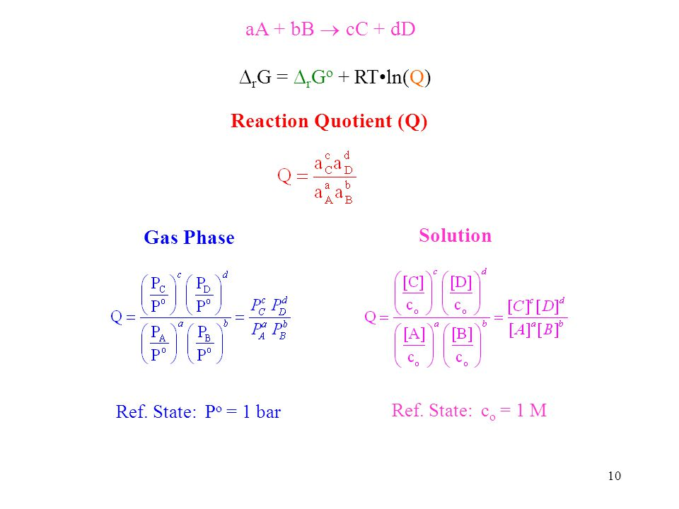 10 aA + bB cC + dD r G = r G o + RTln(Q) Reaction Quotient (Q) Gas Phase Solution Ref. State: P o = 1 bar Ref. State: c o = 1 M