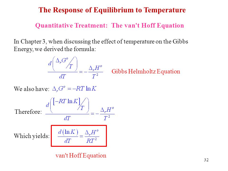 32 The Response of Equilibrium to Temperature Quantitative Treatment: The van't Hoff Equation In Chapter 3, when discussing the effect of temperature