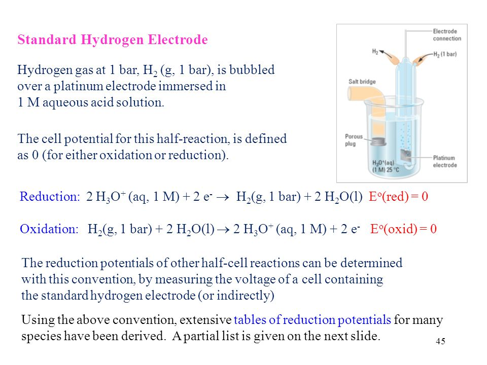 45 Standard Hydrogen Electrode Hydrogen gas at 1 bar, H 2 (g, 1 bar), is bubbled over a platinum electrode immersed in 1 M aqueous acid solution.