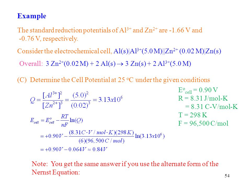 54 Example The standard reduction potentials of Al 3+ and Zn 2+ are -1.66 V and -0.76 V, respectively.