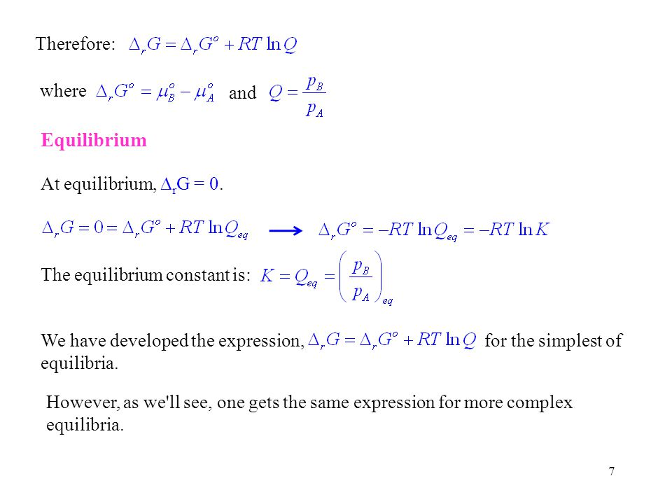 38 If one measures the equilibrium constant at two temperatures, K 1 at T 1 and K 2 at T 2, the data can be used to determine r H and r S and Subtraction of the second equation from the first equation (to eliminate r S) yields: This equation can be used to determine r H and then either of the first two equations can be used to calculate r S.