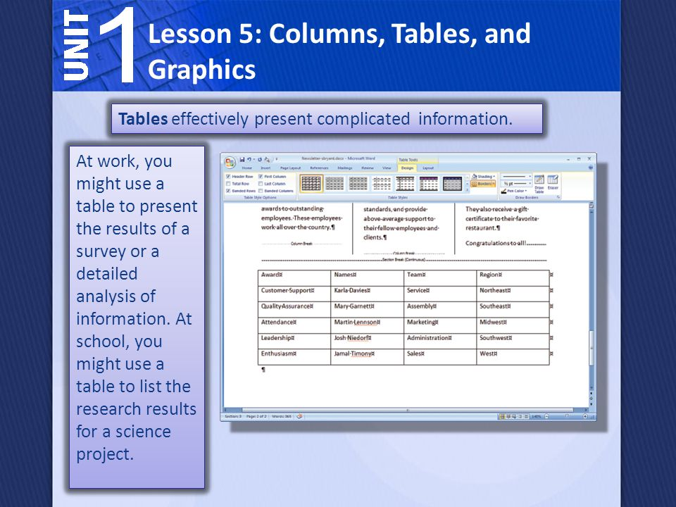 At work, you might use a table to present the results of a survey or a detailed analysis of information.