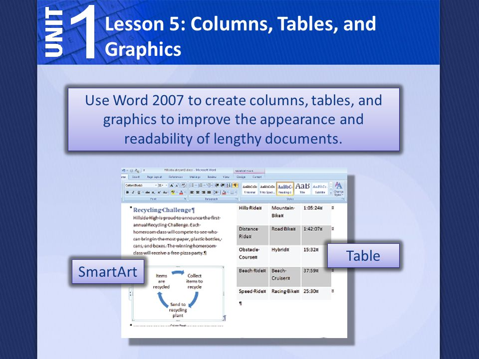 Lesson 5: Columns, Tables, and Graphics Use Word 2007 to create columns, tables, and graphics to improve the appearance and readability of lengthy documents.