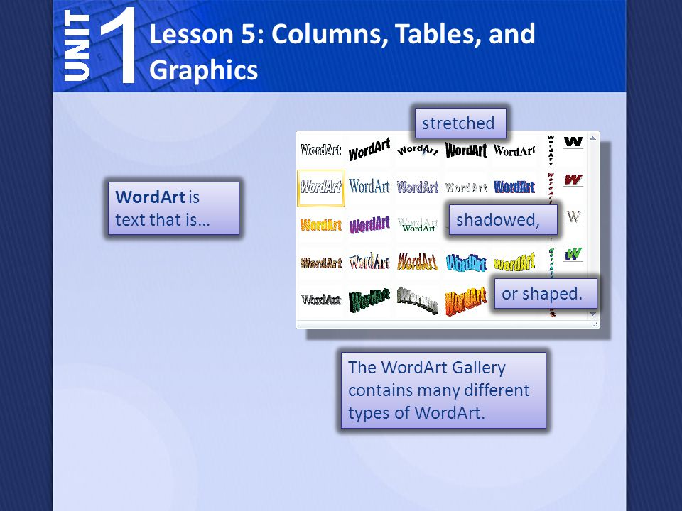 WordArt is text that is… Lesson 5: Columns, Tables, and Graphics shadowed, stretched, or shaped.