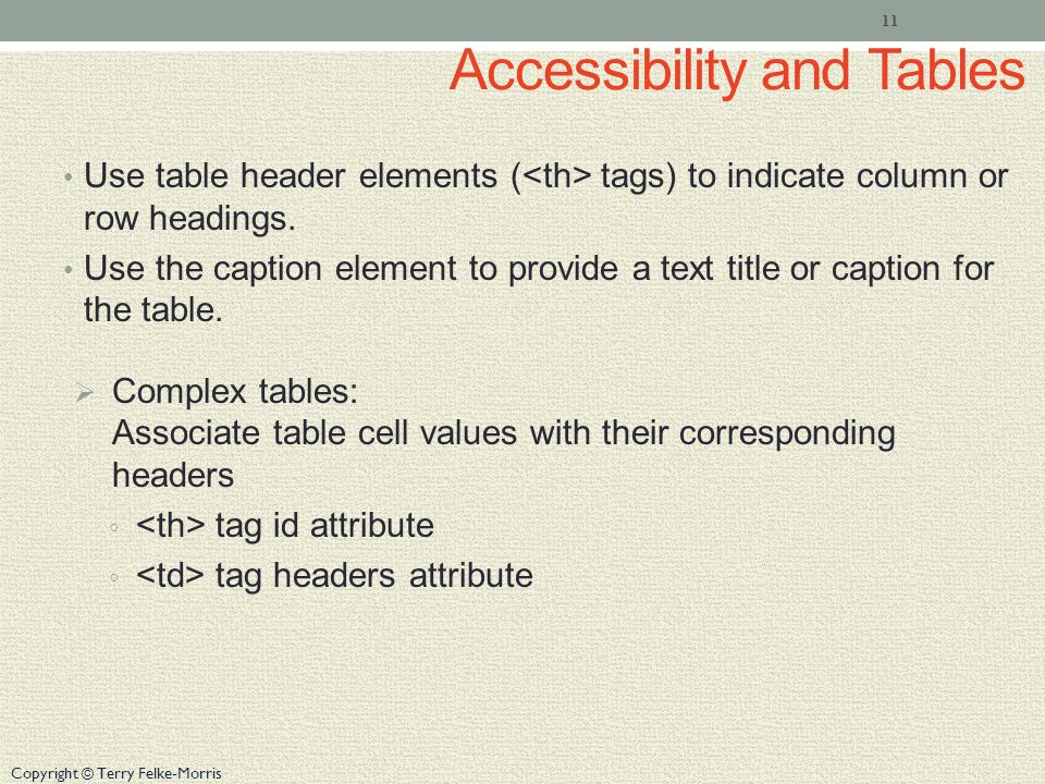 Copyright © Terry Felke-Morris Accessibility and Tables Use table header elements ( tags) to indicate column or row headings.