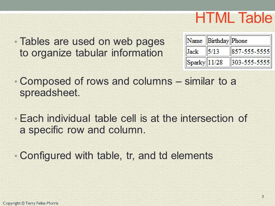 Copyright © Terry Felke-Morris HTML Table Tables are used on web pages to organize tabular information Composed of rows and columns – similar to a spreadsheet.