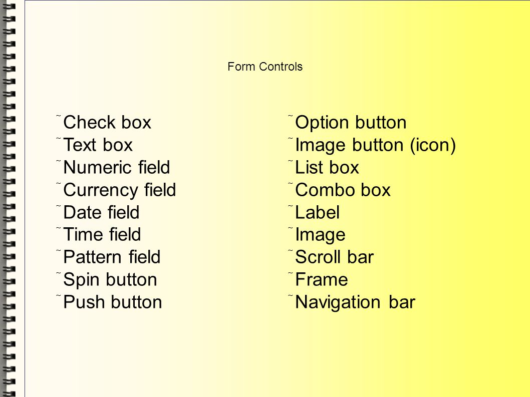 Form Controls Check box Text box Numeric field Currency field Date field Time field Pattern field Spin button Push button Option button Image button (icon) List box Combo box Label Image Scroll bar Frame Navigation bar