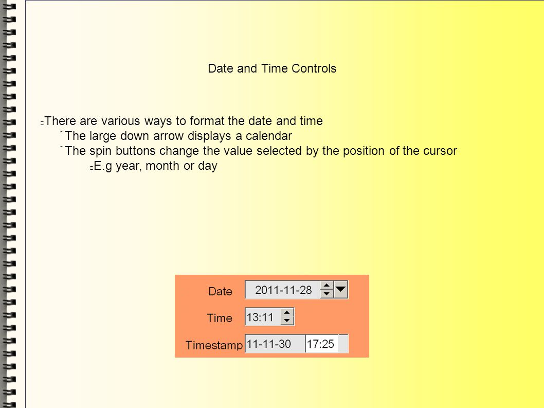 Date and Time Controls There are various ways to format the date and time The large down arrow displays a calendar The spin buttons change the value s
