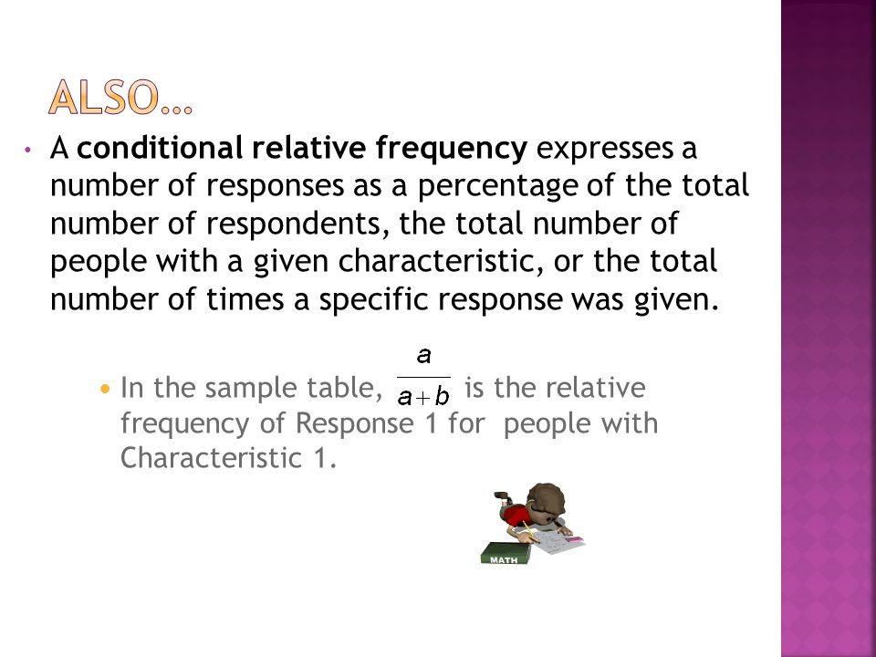 A joint frequency is the number of responses for a given characteristic.
