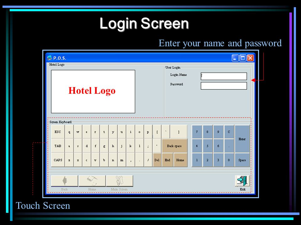 Login Screen Touch Screen Enter your name and password Hotel Logo