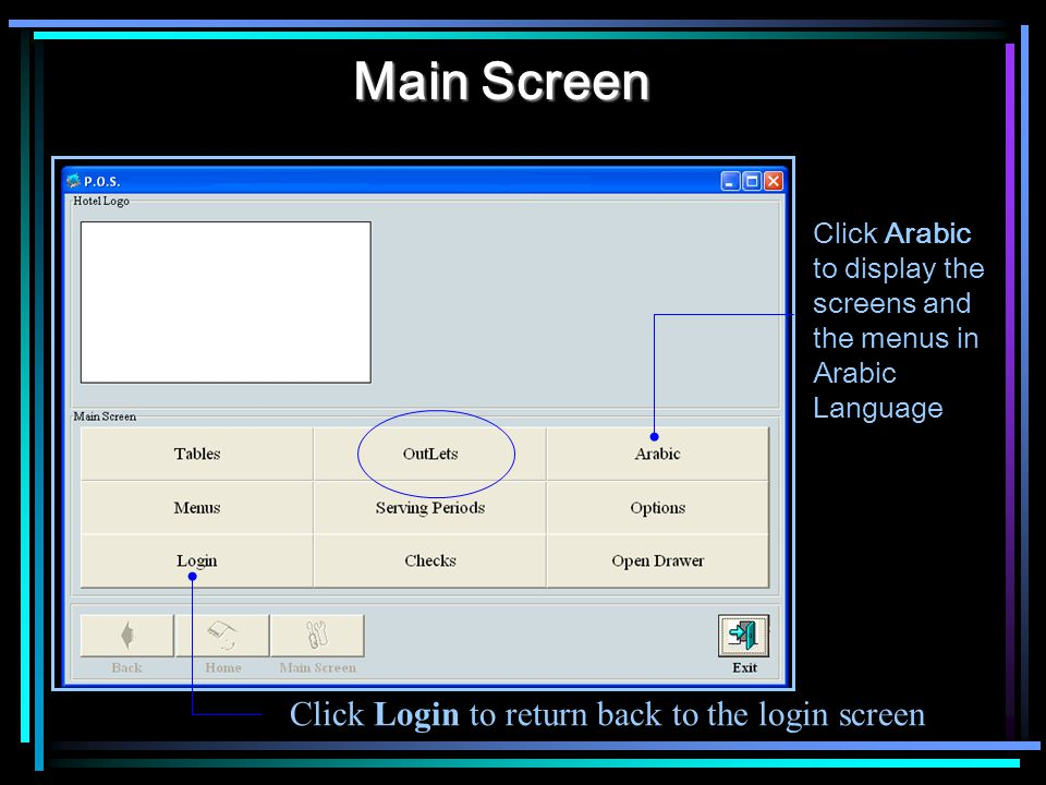 Main Screen Click Login to return back to the login screen Click Arabic to display the screens and the menus in Arabic Language