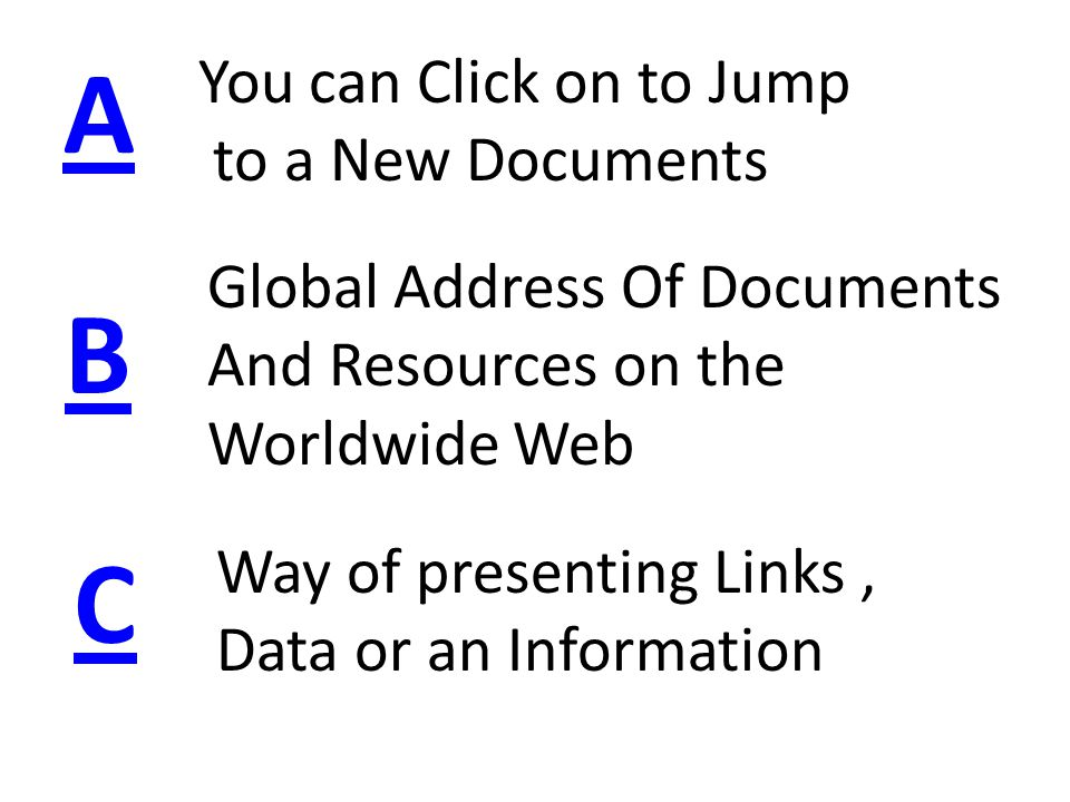 A B C Way of presenting Links, Data or an Information You can Click on to Jump to a New Documents Global Address Of Documents And Resources on the Worldwide Web