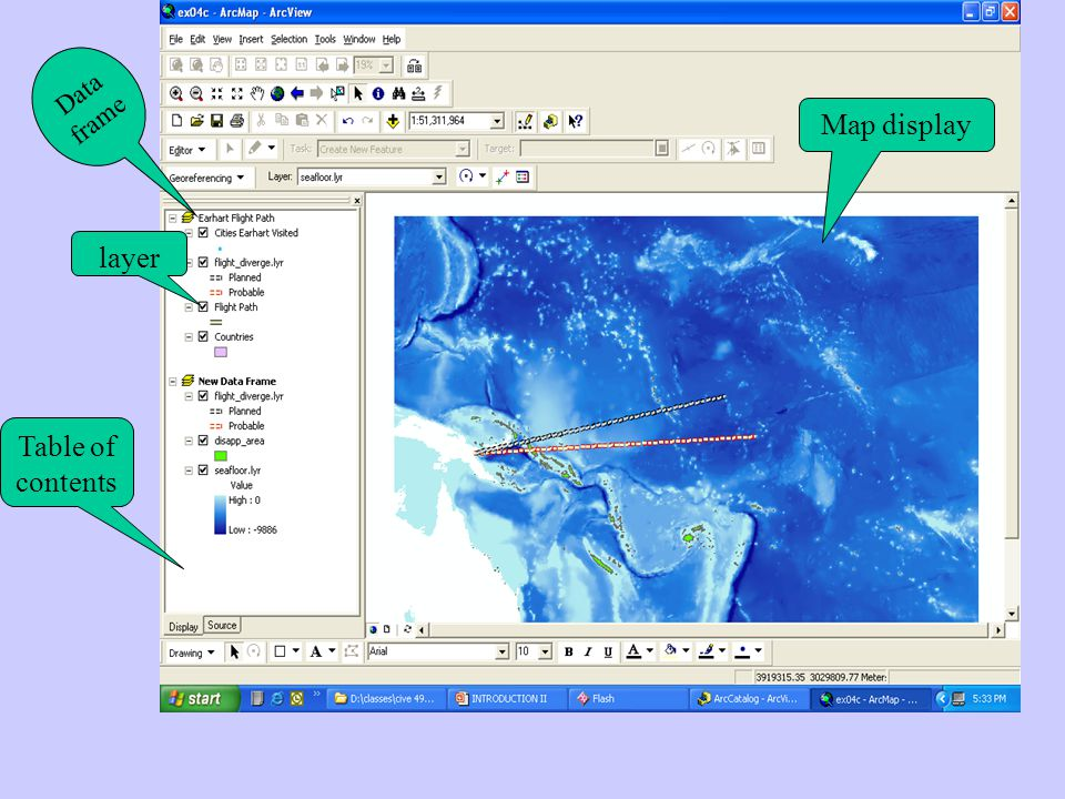 A data frame is an interactive map that lets you display, explore, query and analyze geographic data in ArcMap.