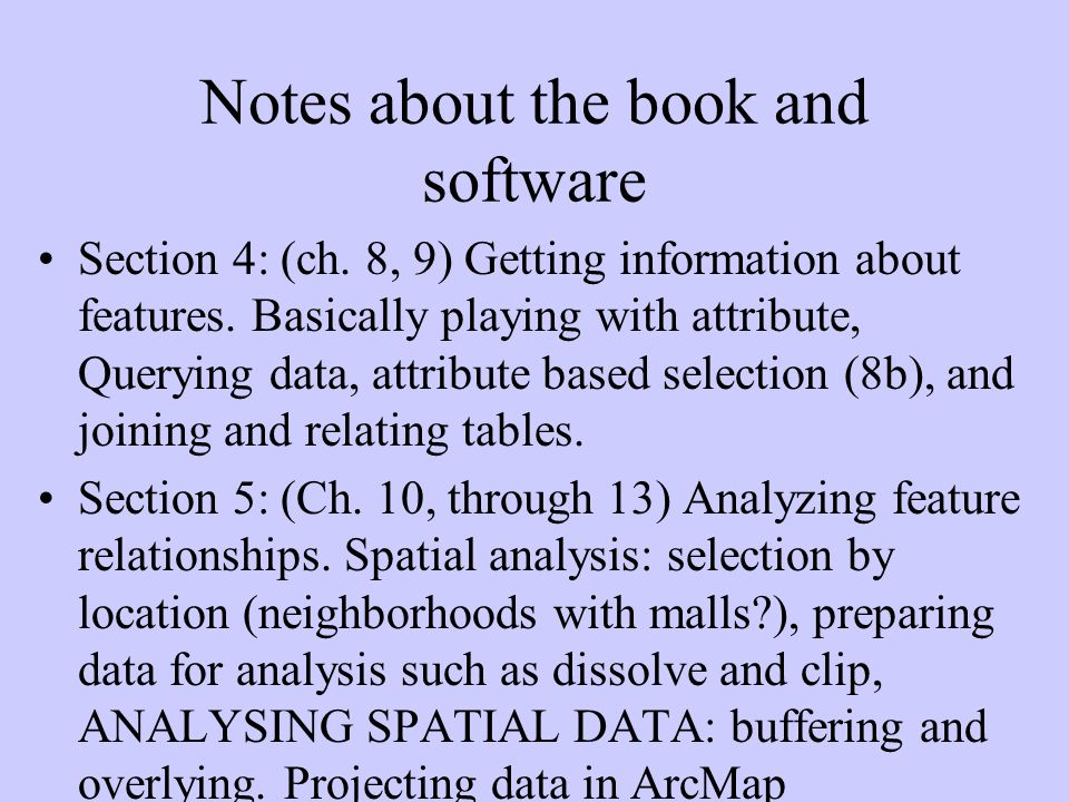 Notes about the book and software Section 6: (ch.