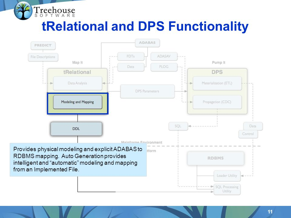 11 tRelational and DPS Functionality Provides physical modeling and explicit ADABAS to RDBMS mapping. Auto Generation provides intelligent and automat