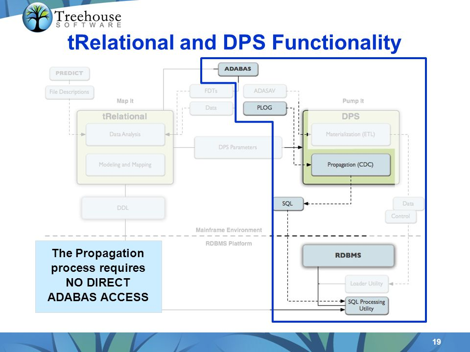 19 tRelational and DPS Functionality The Propagation process requires NO DIRECT ADABAS ACCESS