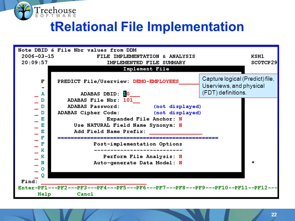 22 tRelational File Implementation Capture logical (Predict) file, Userviews, and physical (FDT) definitions.