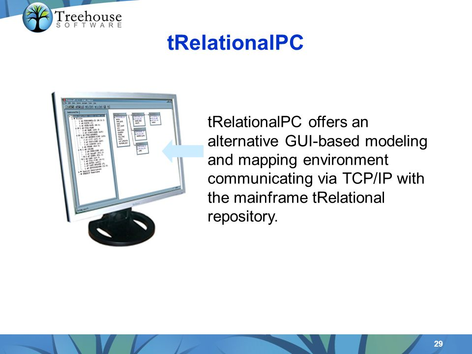 29 tRelationalPC offers an alternative GUI-based modeling and mapping environment communicating via TCP/IP with the mainframe tRelational repository.