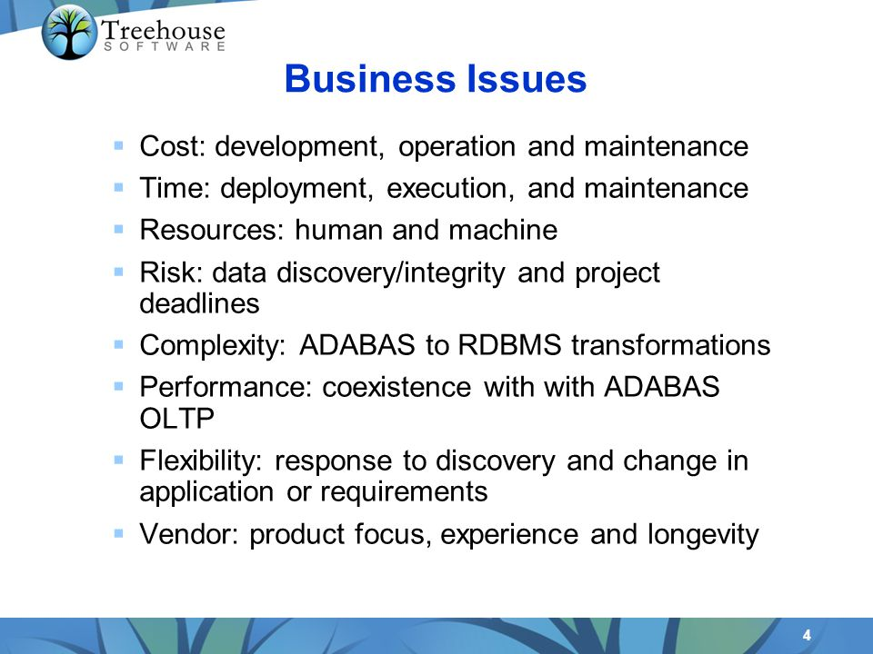 4 Cost: development, operation and maintenance Time: deployment, execution, and maintenance Resources: human and machine Risk: data discovery/integrity and project deadlines Complexity: ADABAS to RDBMS transformations Performance: coexistence with with ADABAS OLTP Flexibility: response to discovery and change in application or requirements Vendor: product focus, experience and longevity Business Issues