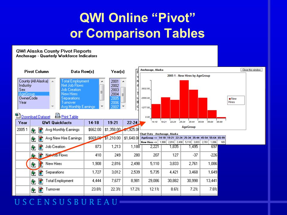QWI Online Pivot or Comparison Tables