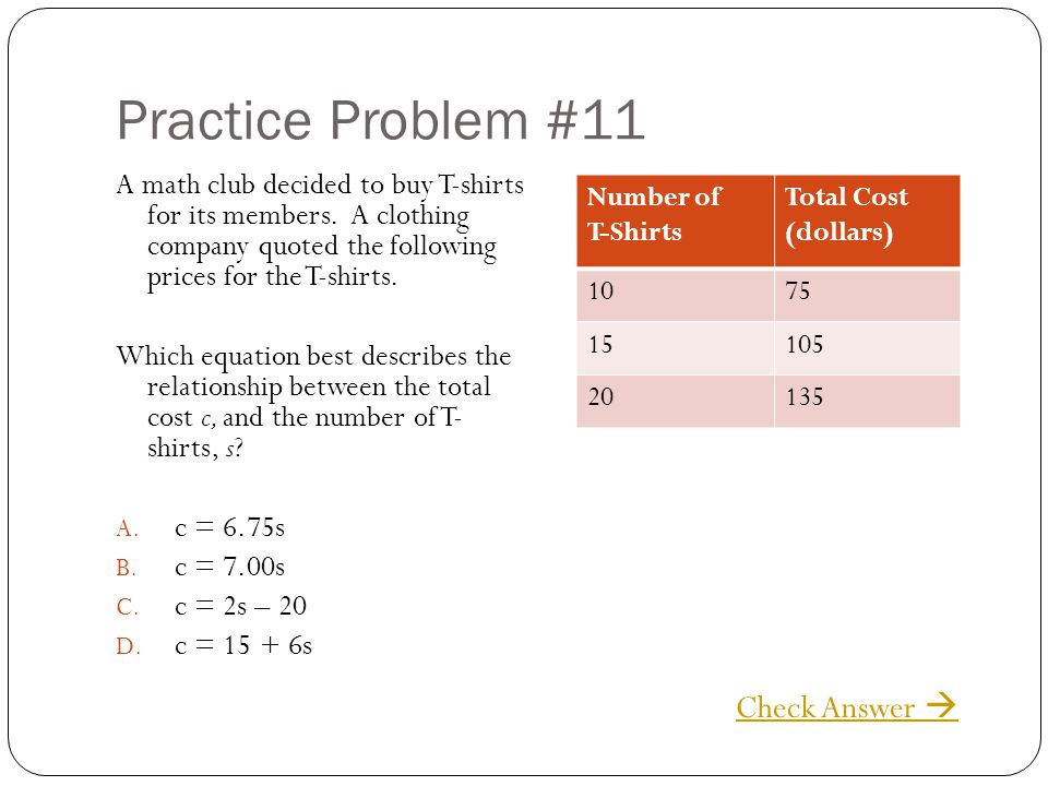 Practice Problem #11 A math club decided to buy T-shirts for its members. A clothing company quoted the following prices for the T-shirts. Which equat