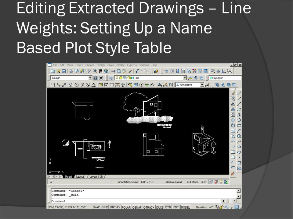 Editing Extracted Drawings – Line Weights: Setting Up a Name Based Plot Style Table