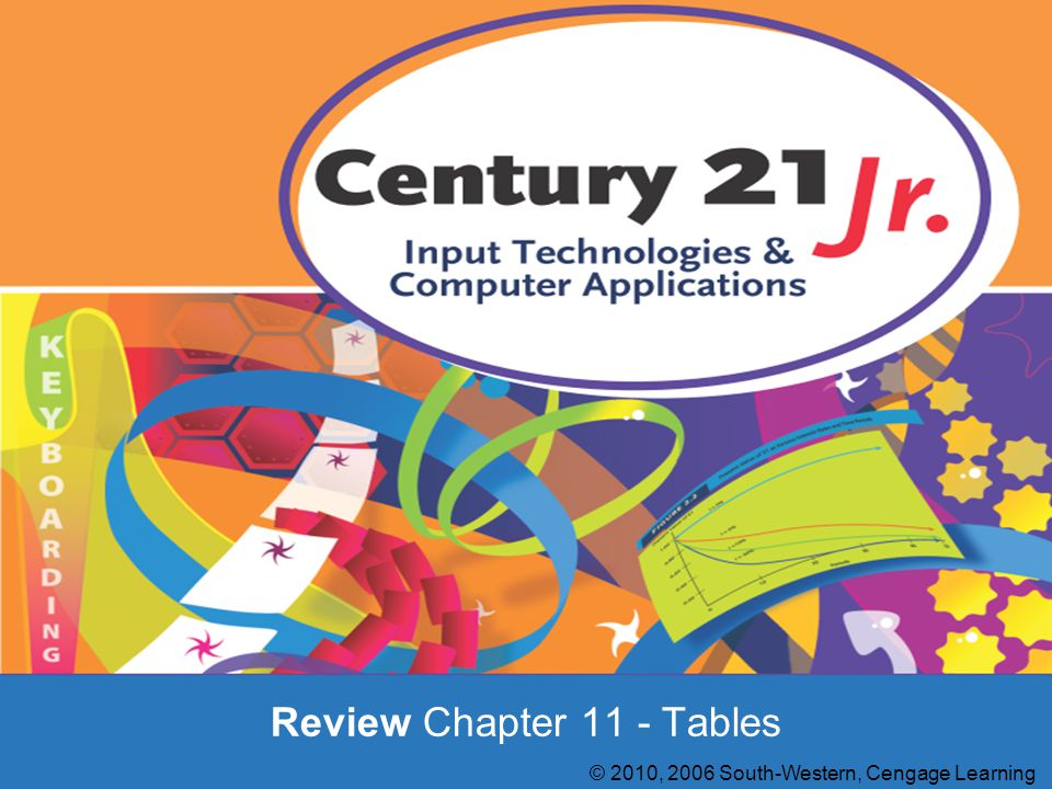 Review Chapter 11 - Tables © 2010, 2006 South-Western, Cengage Learning