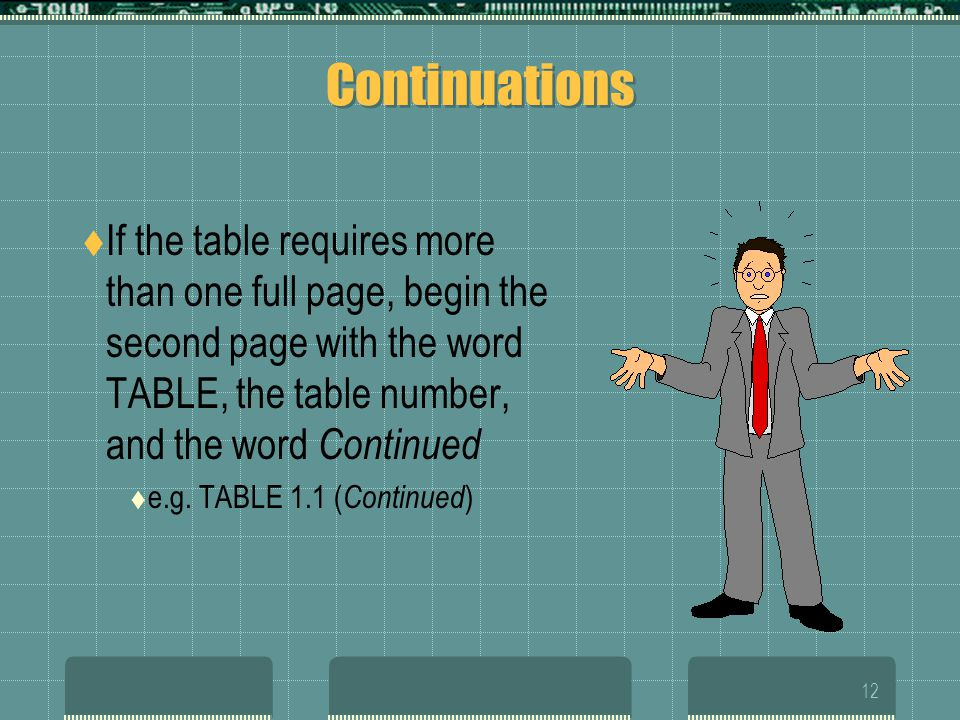 11 Numbering Formal graphics also require a number The number and title for a formal table always go above the data Capitalize the word TABLE All othe