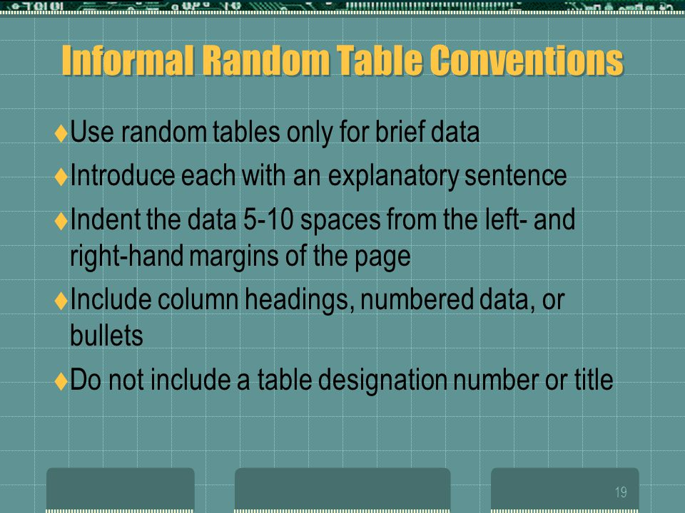 18 Types of Visuals TABLE Informal Random Table Informal Continuation Table Formal Table FIGURE Bar Charts Line Graphs Pie Charts Flow Chart Organizat