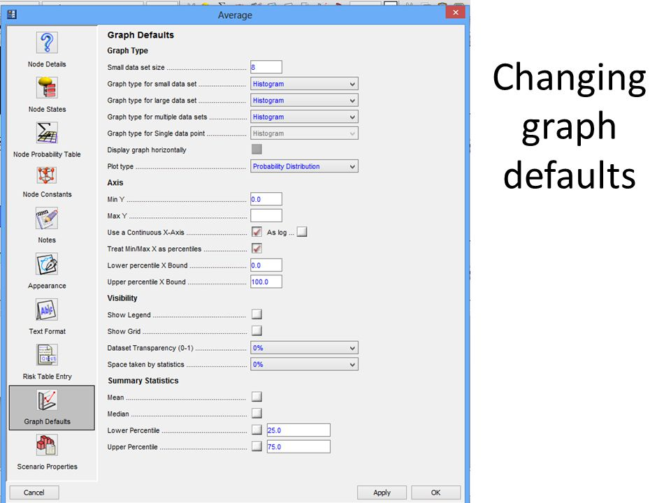 Changing graph defaults