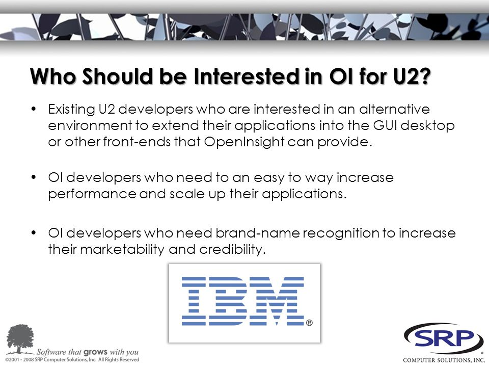 Who Should be Interested in OI for U2.