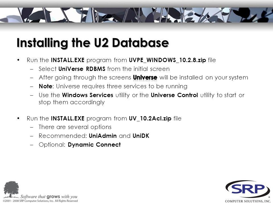 Installing the U2 Database